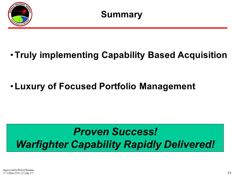 Warfighter Capability Rapidly Delivered!