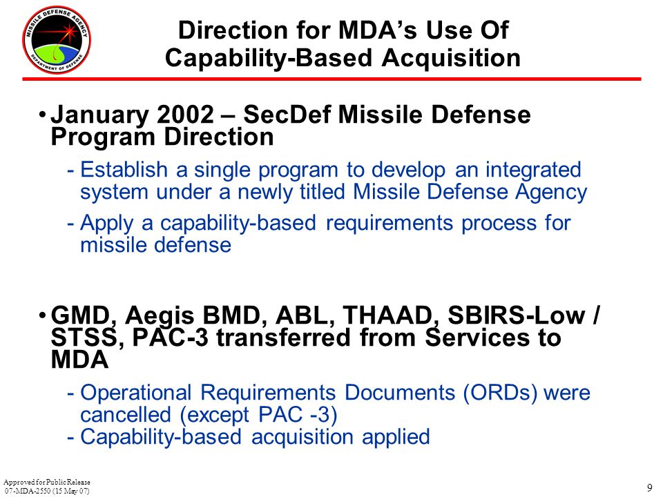 Direction for MDA's Use Of Capability-Based Acquisition