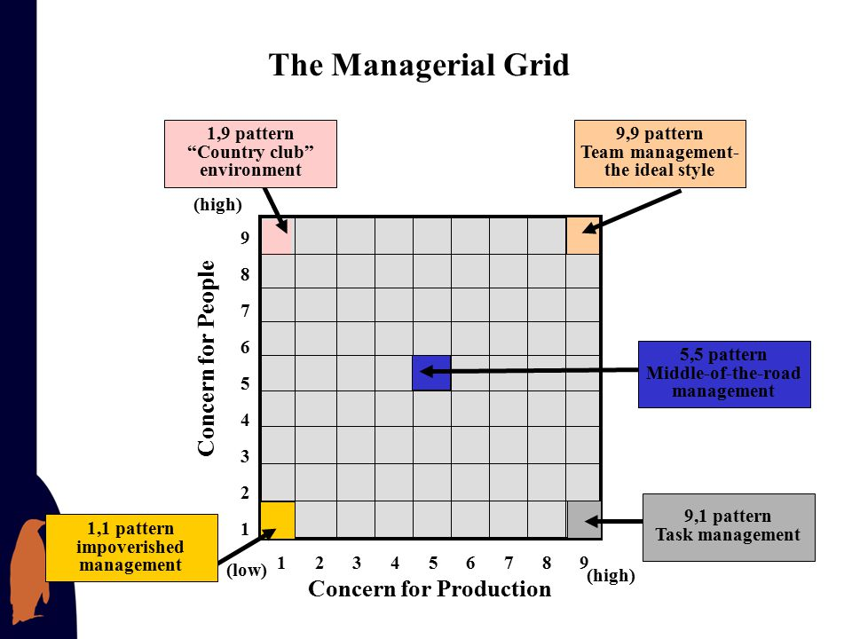 The Managerial Grid Concern for People Concern for Production