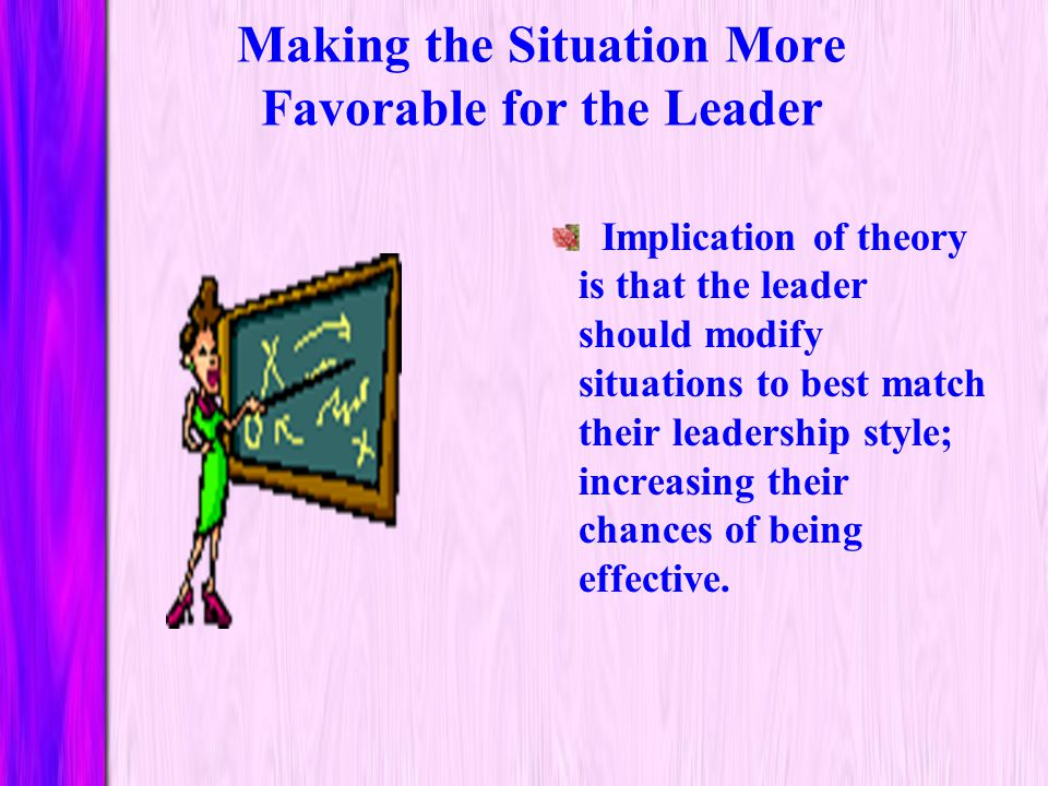 Making the Situation More Favorable for the Leader