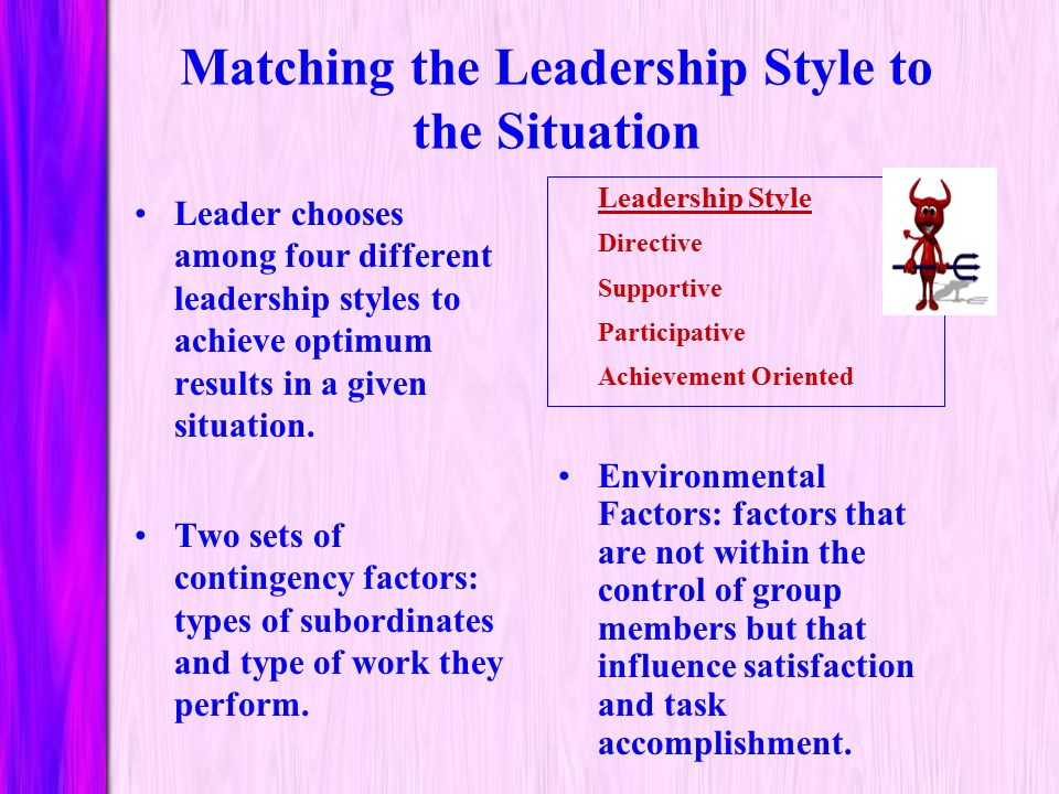 Matching the Leadership Style to the Situation