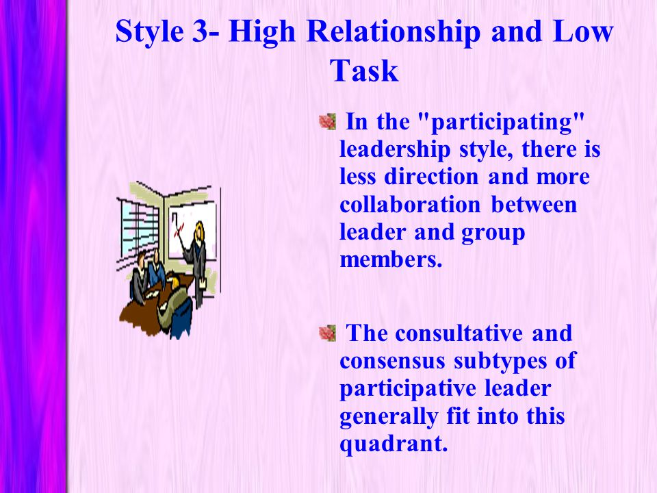 Style 3- High Relationship and Low Task