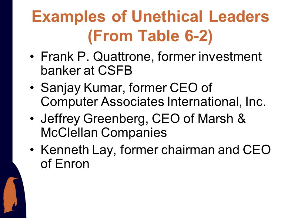 Examples of Unethical Leaders (From Table 6-2)
