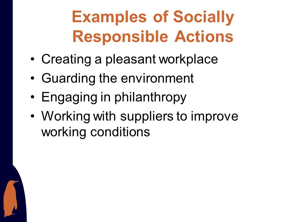 Examples of Socially Responsible Actions