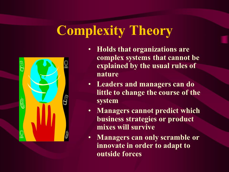 Complexity Theory Holds that organizations are complex systems that cannot be explained by the usual rules of nature.