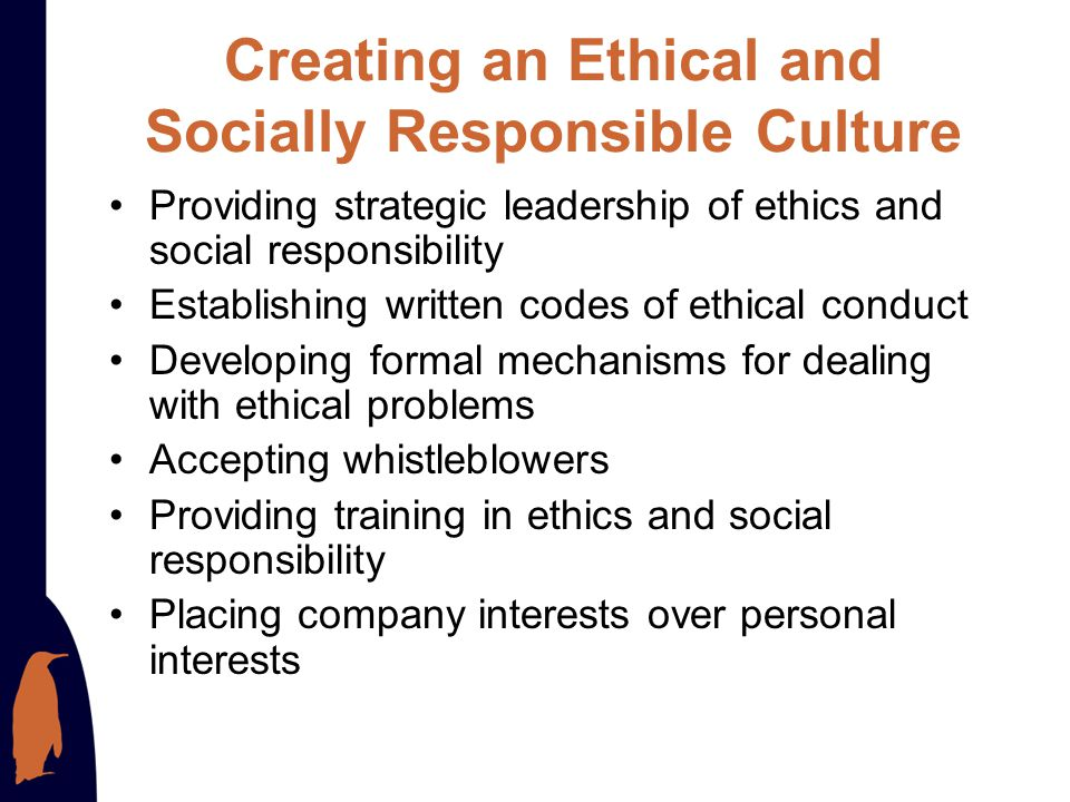 Creating an Ethical and Socially Responsible Culture