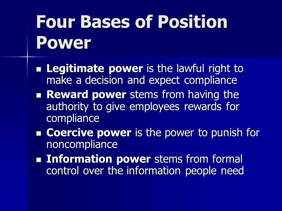 Four Bases of Position Power