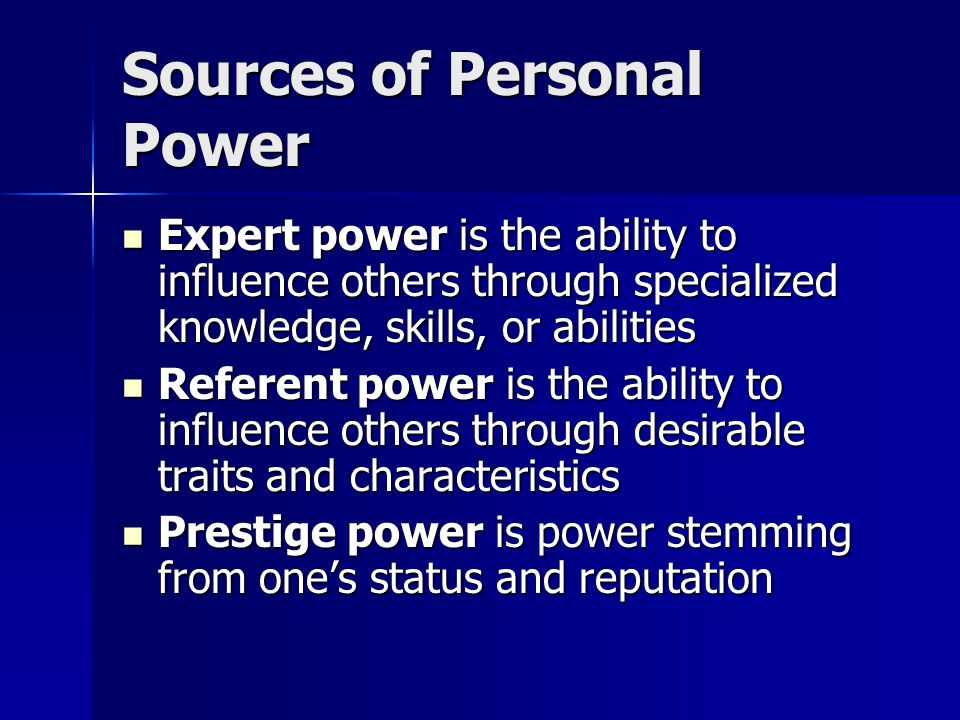 Sources of Personal Power