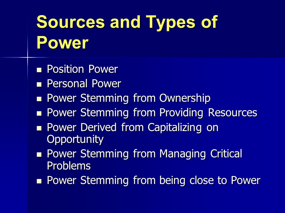 Sources and Types of Power