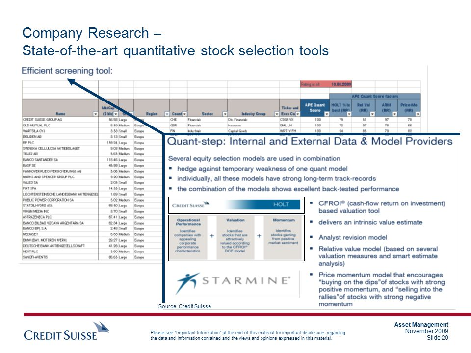 Company Research – State-of-the-art quantitative stock selection tools