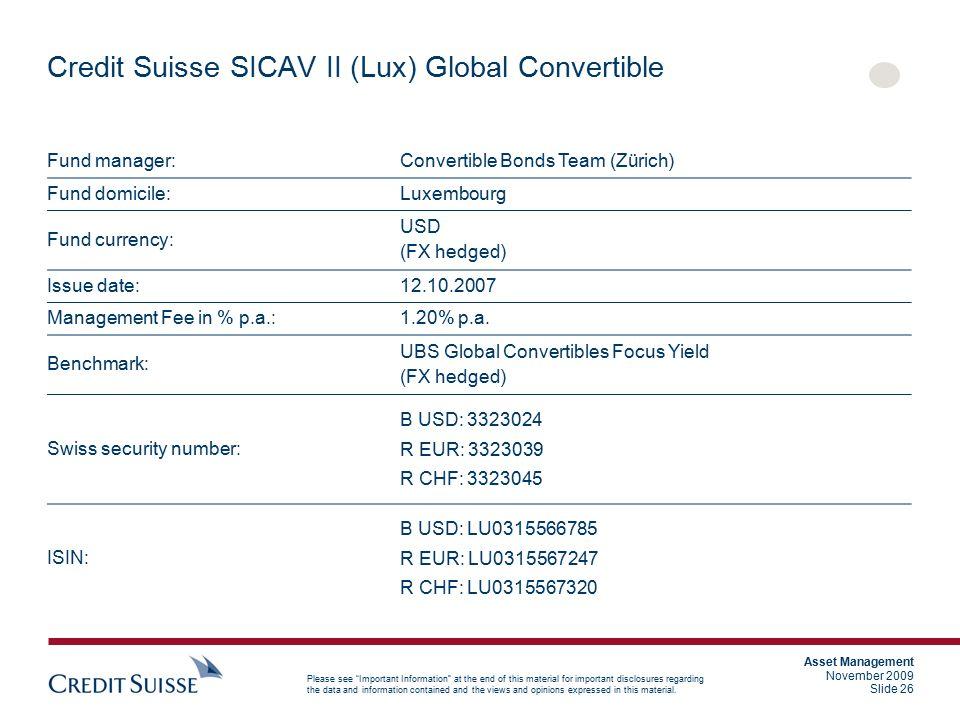 Credit Suisse SICAV II (Lux) Global Convertible