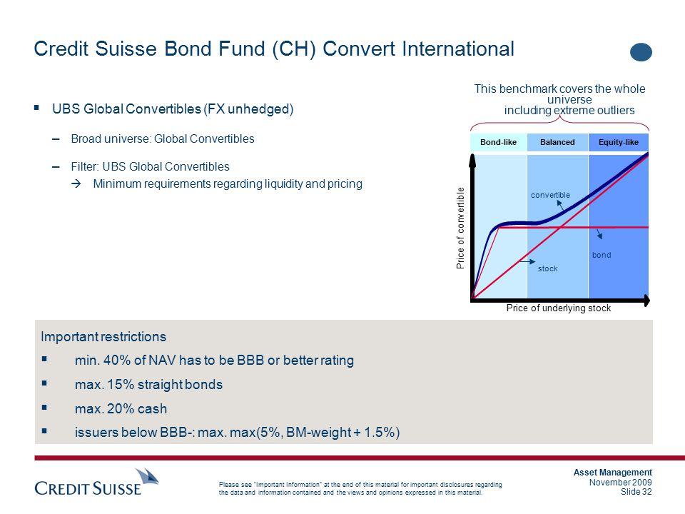 Credit Suisse Bond Fund (CH) Convert International