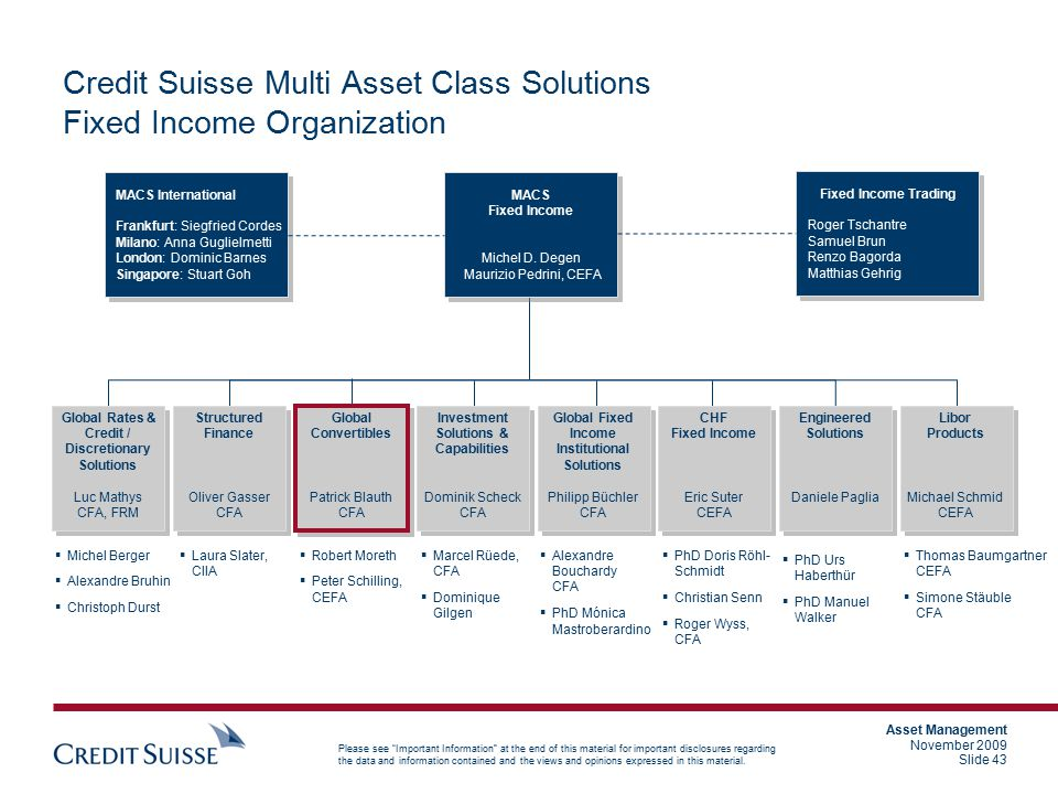 Credit Suisse Multi Asset Class Solutions Fixed Income Organization