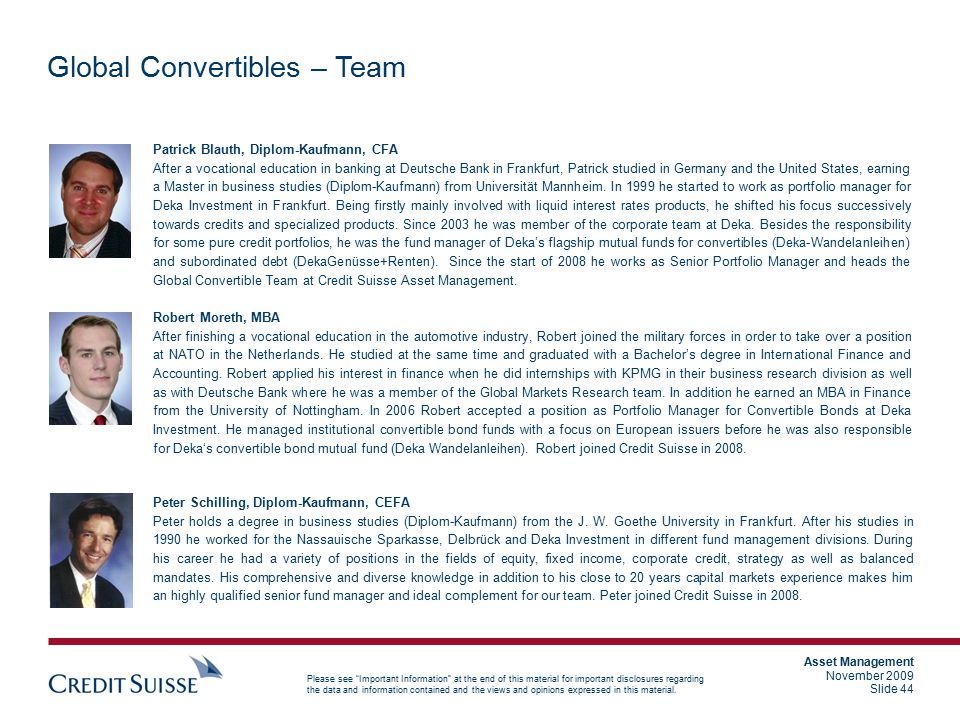 Global Convertibles – Team