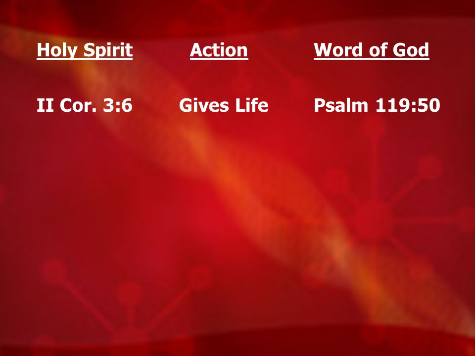 Holy Spirit II Cor. 3:6 Action Gives Life Word of God Psalm 119:50