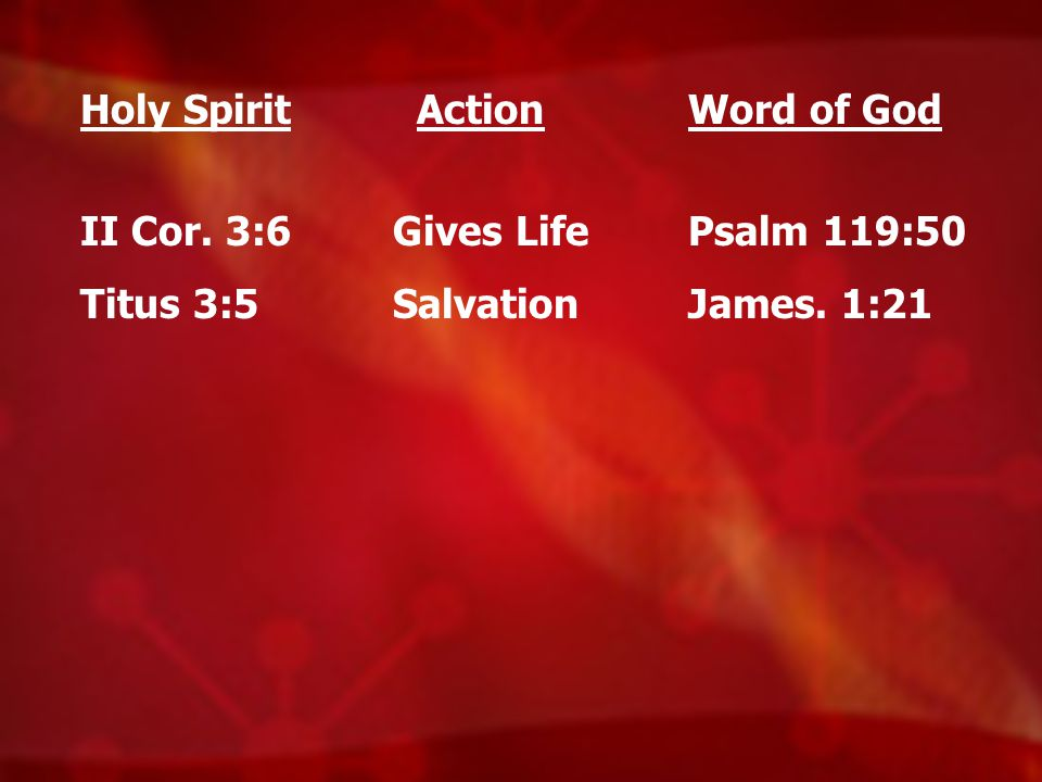 Holy Spirit II Cor. 3:6 Titus 3:5 Action Gives Life Salvation Word of God Psalm 119:50 James. 1:21