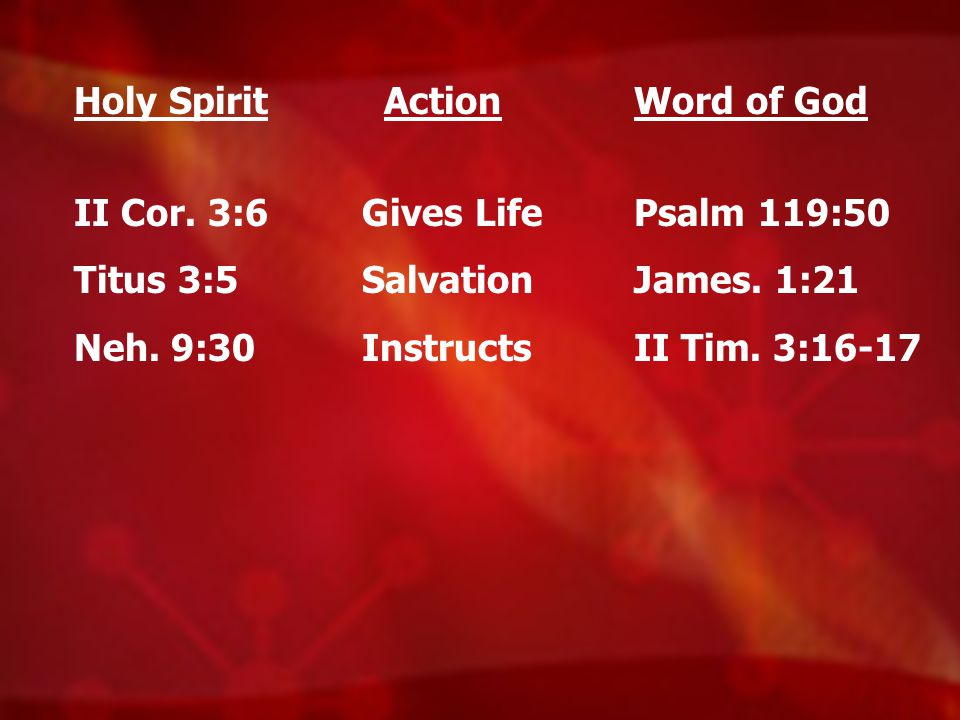 Holy Spirit II Cor. 3:6. Titus 3:5. Neh. 9:30. Action. Gives Life. Salvation. Instructs. Word of God.