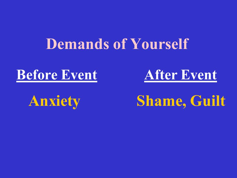 Demands of Yourself Before Event After Event Anxiety Shame, Guilt
