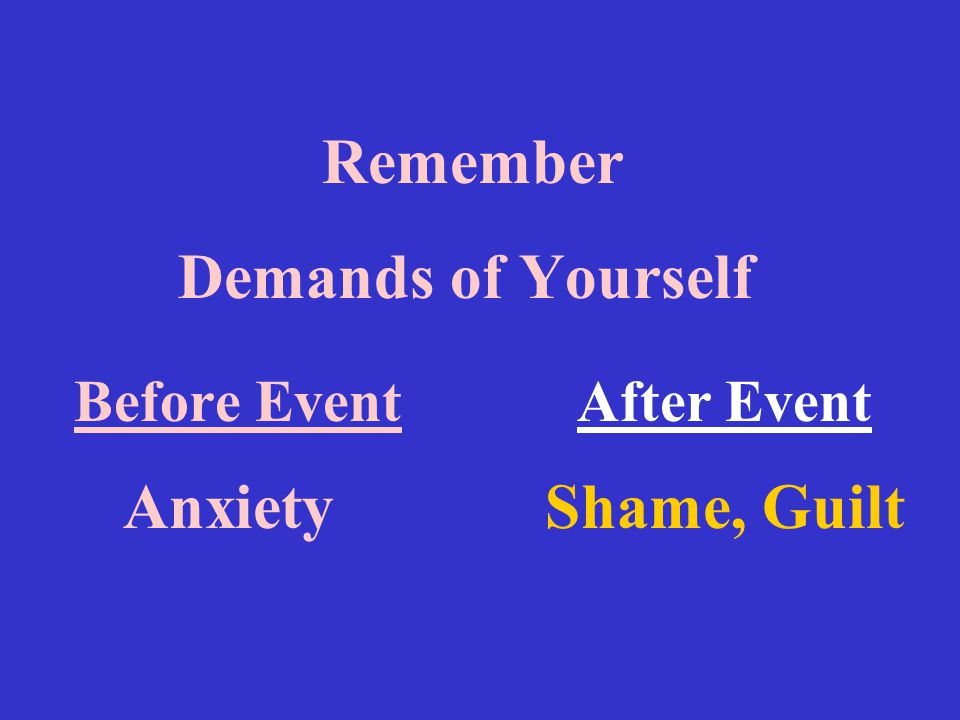 Remember Demands of Yourself Before Event After Event Anxiety Shame, Guilt