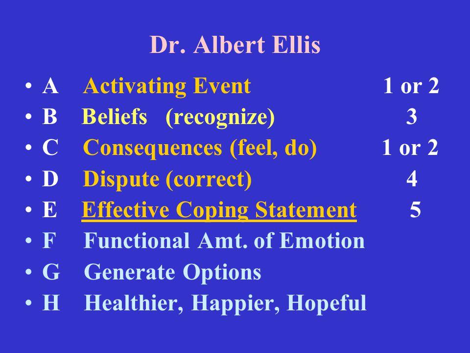 Dr. Albert Ellis A Activating Event 1 or 2 B Beliefs (recognize) 3