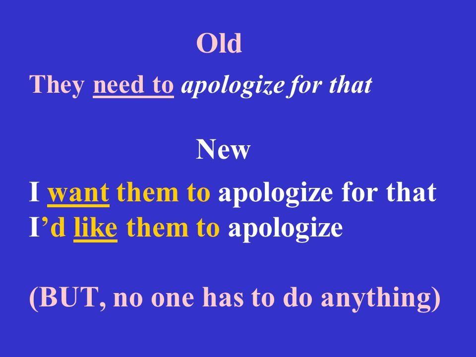 Old They need to apologize for that New I want them to apologize for that I'd like them to apologize (BUT, no one has to do anything)