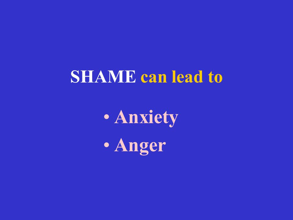 SHAME can lead to Anxiety Anger
