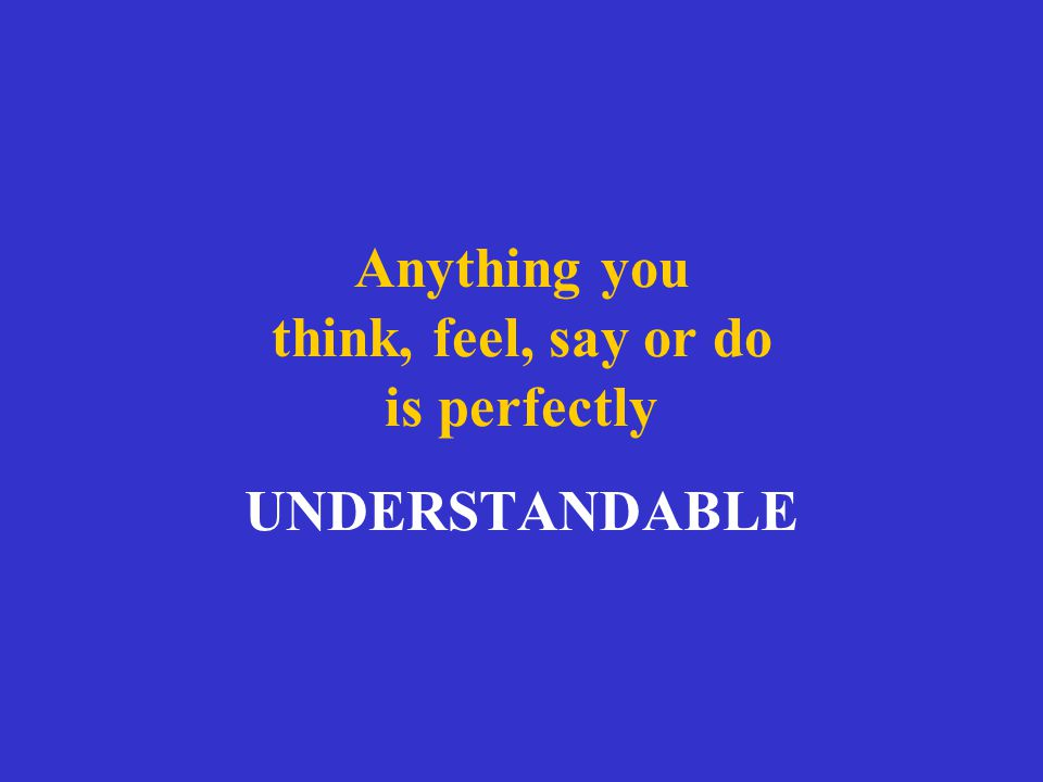Anything you think, feel, say or do is perfectly UNDERSTANDABLE