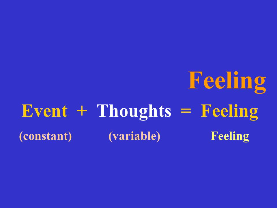 Feeling Event + Thoughts = Feeling (constant) (variable) Feeling