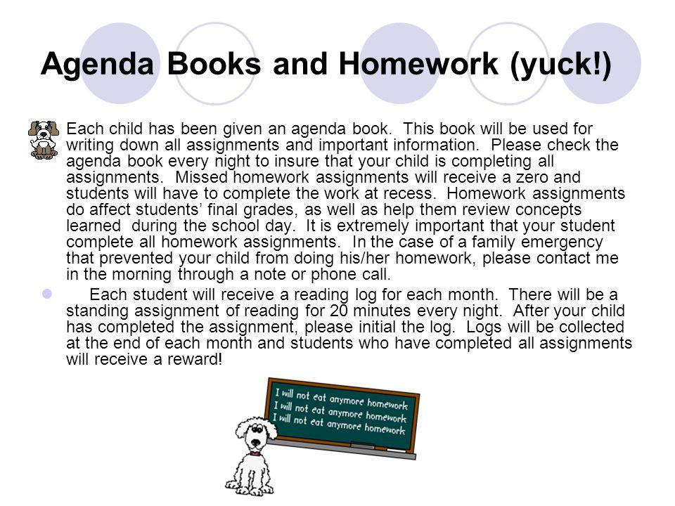 Agenda Books and Homework (yuck!)