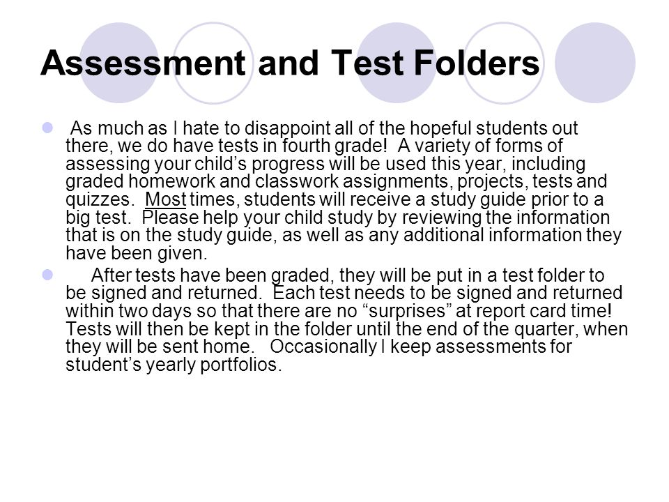 Assessment and Test Folders