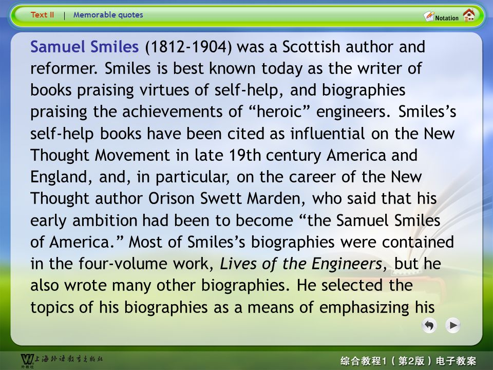 Samuel Smiles 1 Text II. Memorable quotes.