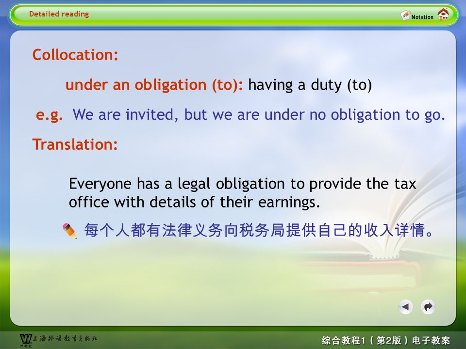 Detailed reading1– obligation 2