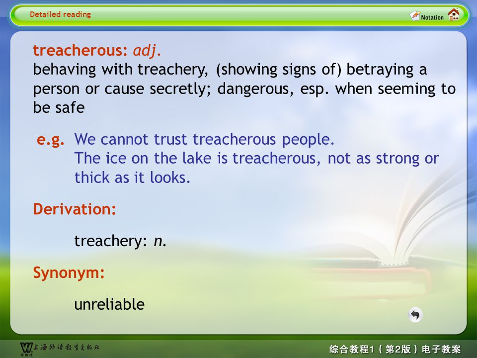 Detailed reading1-- treacherous