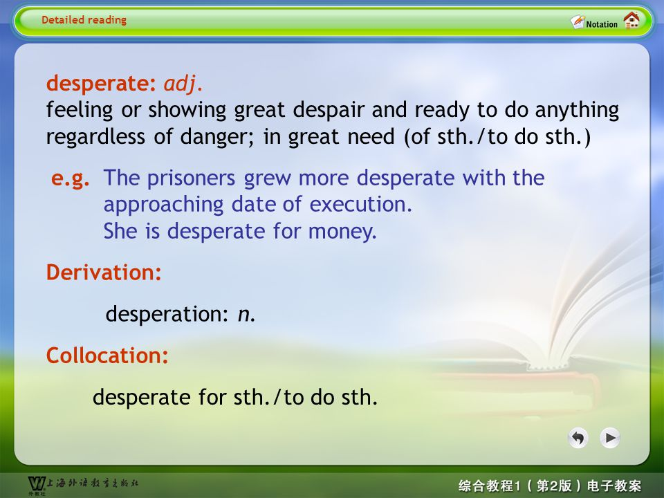 Detailed reading1– desperate 1