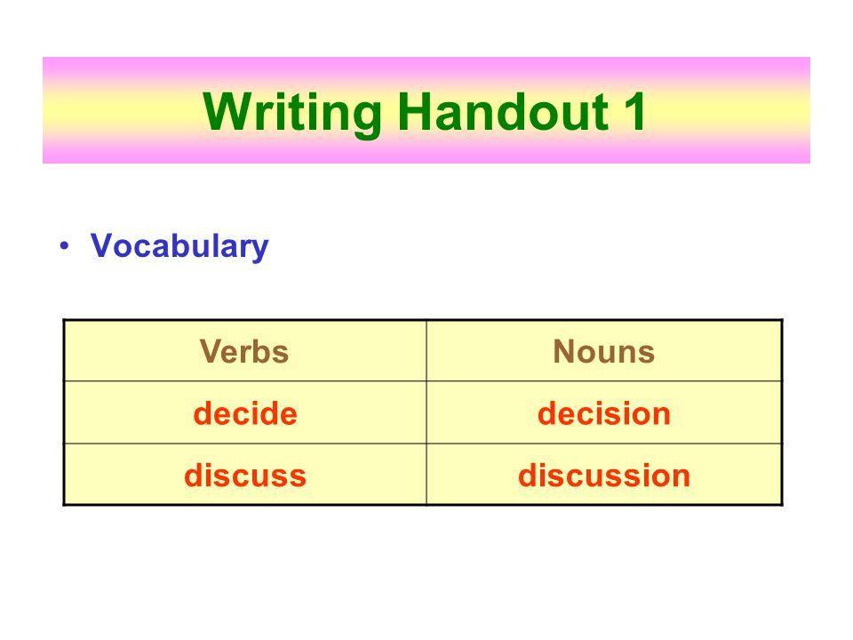 Writing Handout 1 Vocabulary Verbs Nouns decide decision discuss