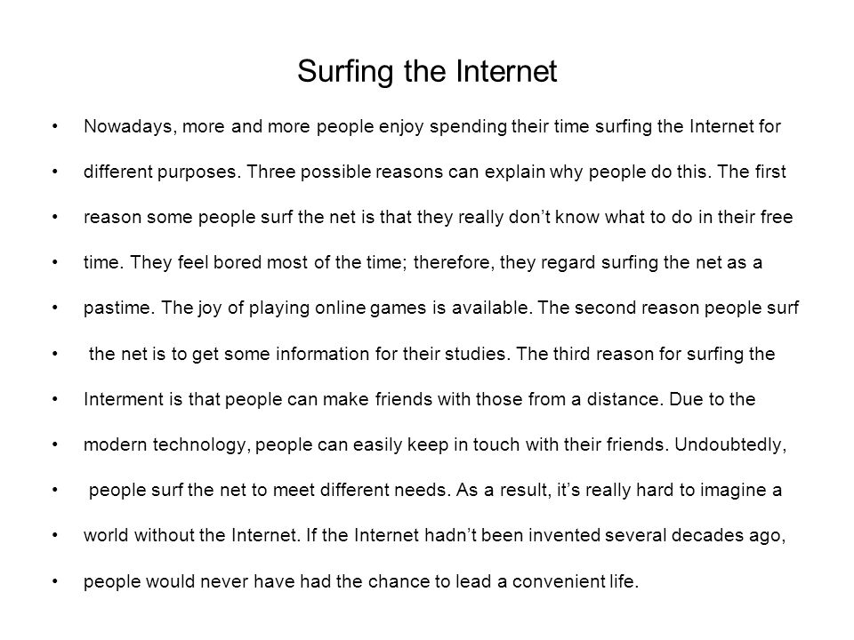 Surfing internet essay writer