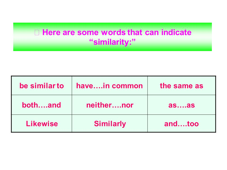 ※ Here are some words that can indicate similarity: