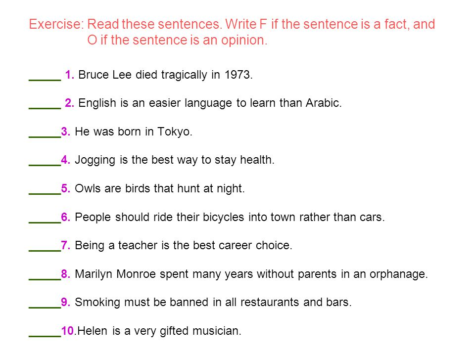 Exercise: Read these sentences