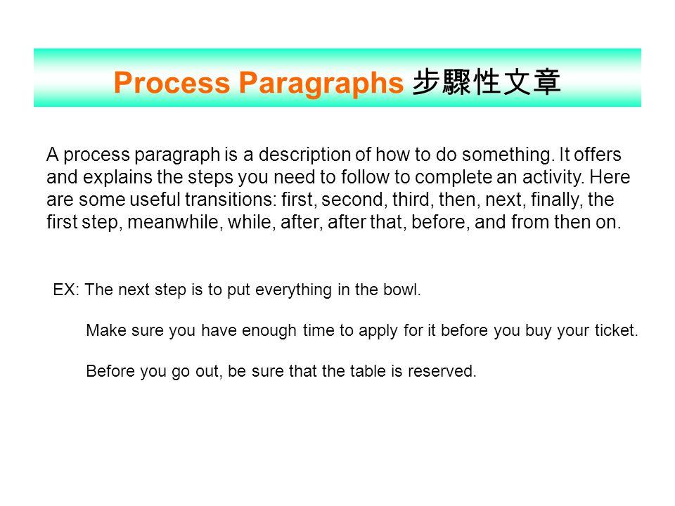 Process Paragraphs 步驟性文章