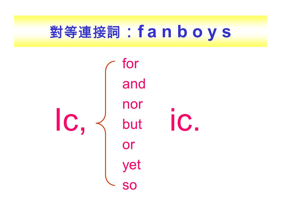 對等連接詞:f a n b o y s Ic, ic. for and nor but or yet so