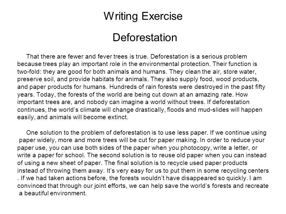 Writing Exercise Deforestation