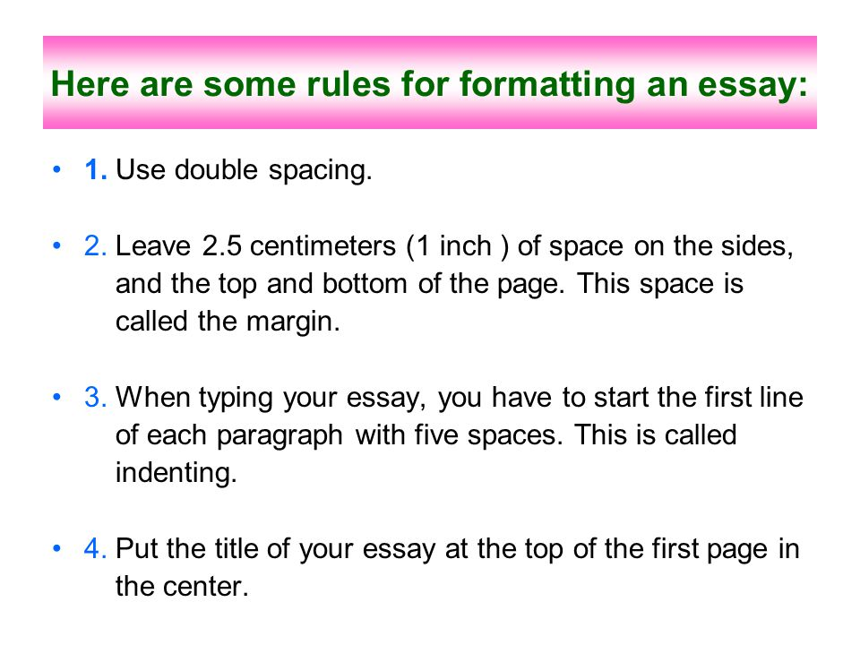 Here are some rules for formatting an essay: