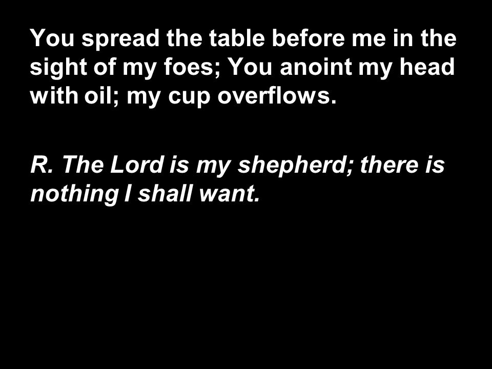 You spread the table before me in the sight of my foes; You anoint my head with oil; my cup overflows.