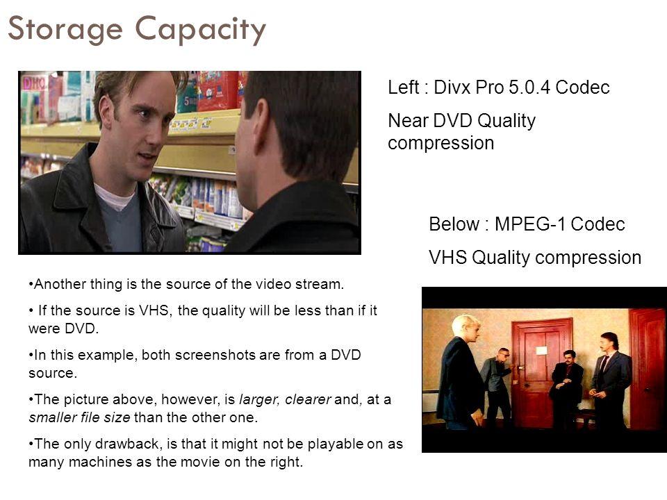 Storage Capacity Left : Divx Pro 5.0.4 Codec