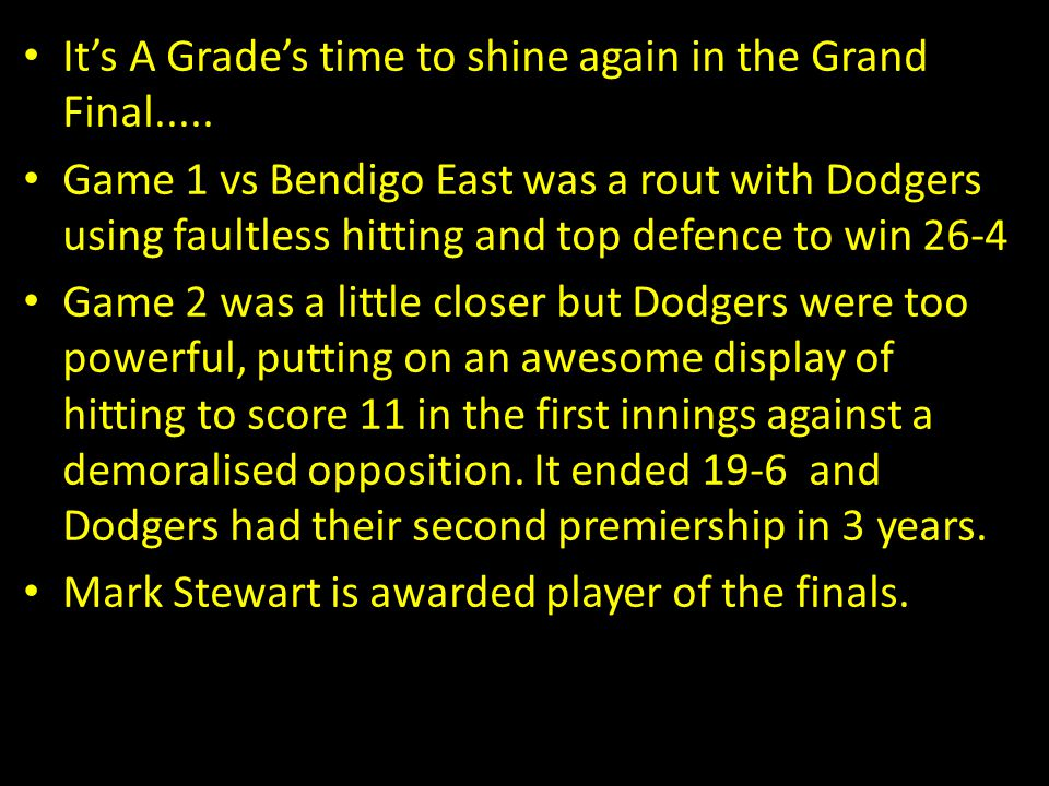 It's A Grade's time to shine again in the Grand Final.....