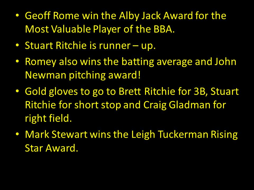 Geoff Rome win the Alby Jack Award for the Most Valuable Player of the BBA.