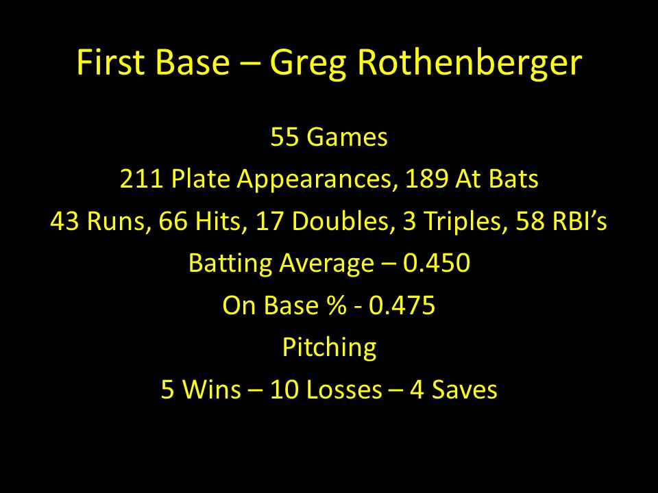 First Base – Greg Rothenberger
