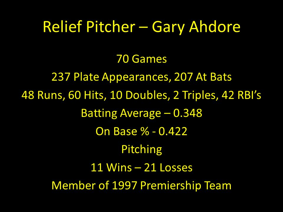 Relief Pitcher – Gary Ahdore