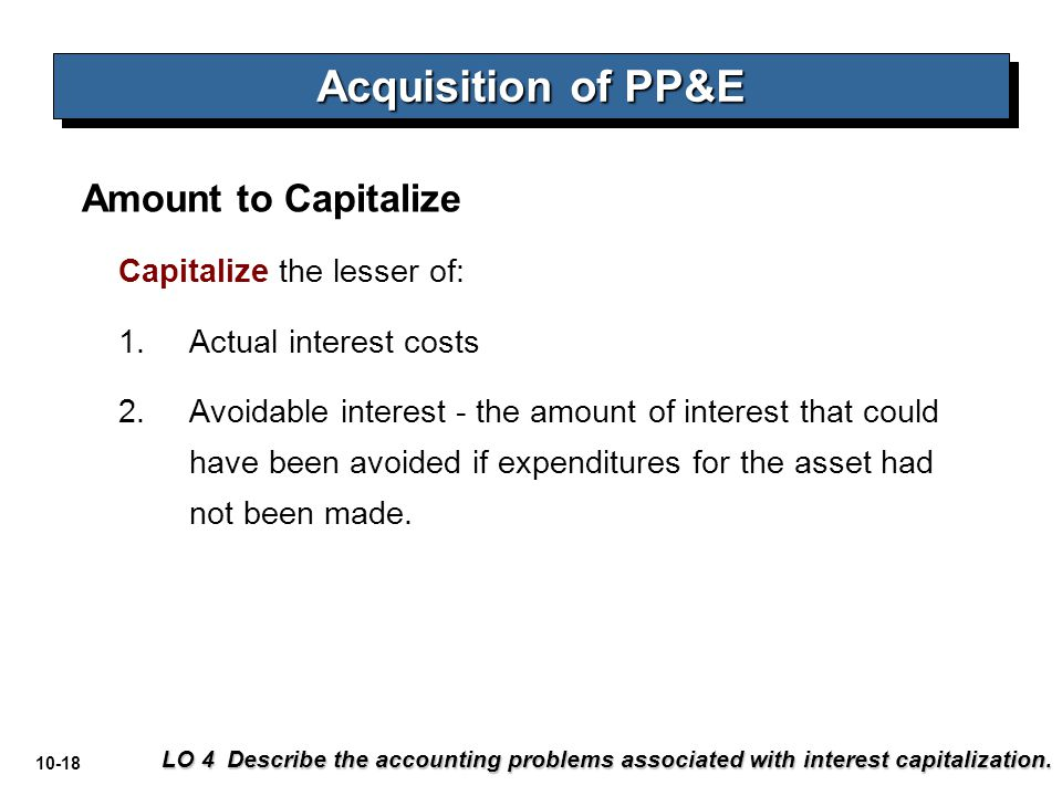 Acquisition of PP&E Amount to Capitalize Capitalize the lesser of: