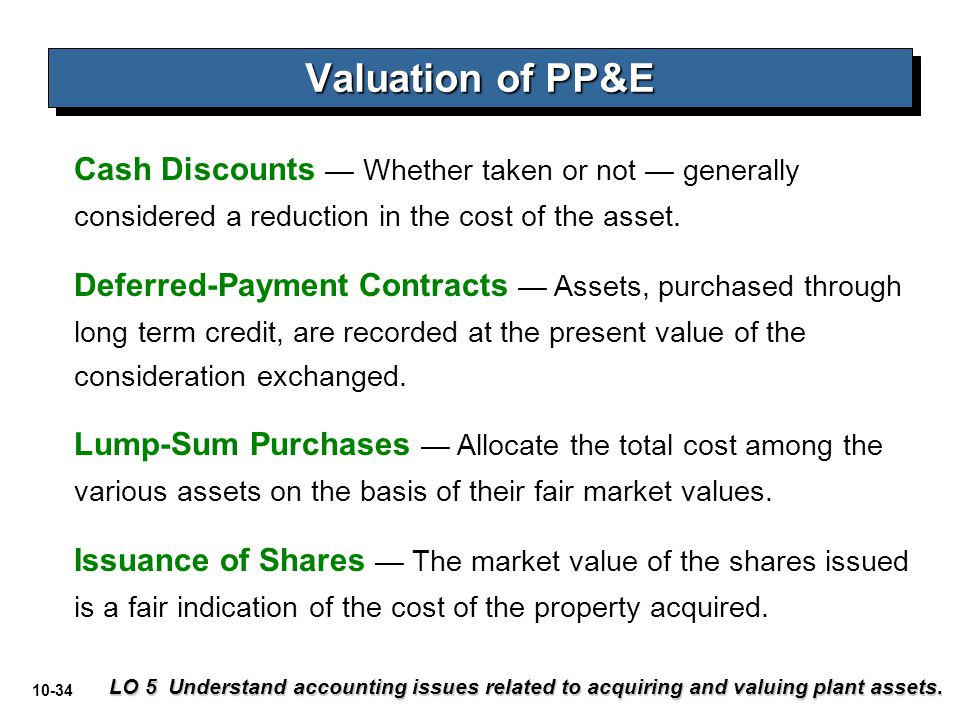 Valuation of PP&E Cash Discounts — Whether taken or not — generally considered a reduction in the cost of the asset.